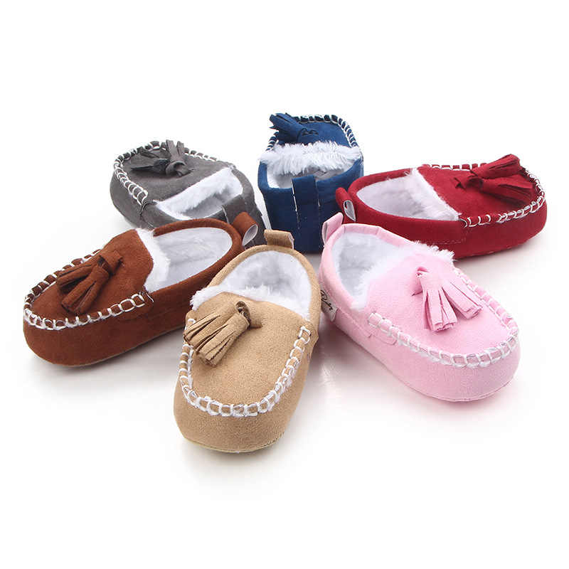 Newborn Infant Baby Boys Girls Kids Winter Warm Loafers Fringed Shoes First Walkers Child Crib Bebe Soft Soled Prewalkers Shoe