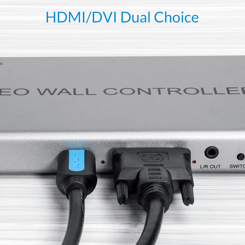 Unnlink Video Wall Controller 1 HDMI/DVI In 4 HDMI Out 1x2,1x3,1x4,2x1,2x2,3x1,4x4 Images Stitching 4 TV Shows a Screen Splicing