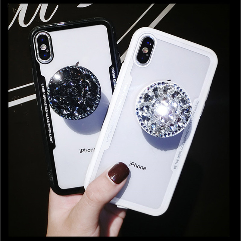 Luxury Rhinestone Bracket Phone <font><b>Case</b></font> For <font><b>VIVO</b></font> Y66 Y67 Y75 V5 V7 Y79 <font><b>V7Plus</b></font> Ultra Silicone TPU+Acrylic Back Capa Fundas image