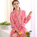 2017 Autumn and Winter Women's Coral Fleece Robe Women's Thickening Flannel Bathrobe Lady Thermal Nightwear Nightgowns Size XXL