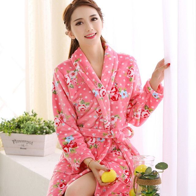 8745ebf854 2017 Autumn and Winter Women s Coral Fleece Robe Women s Thickening Flannel  Bathrobe Lady Thermal Nightwear Nightgowns