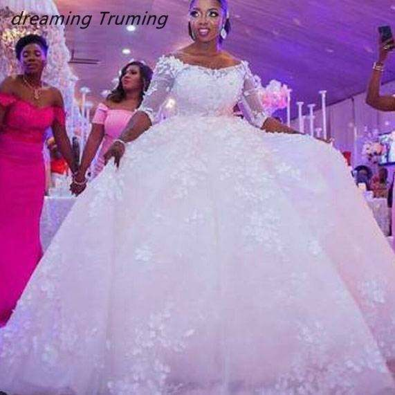 Long Sleeve African Ball Gowns Wedding Dress 2019 Appliques Lace