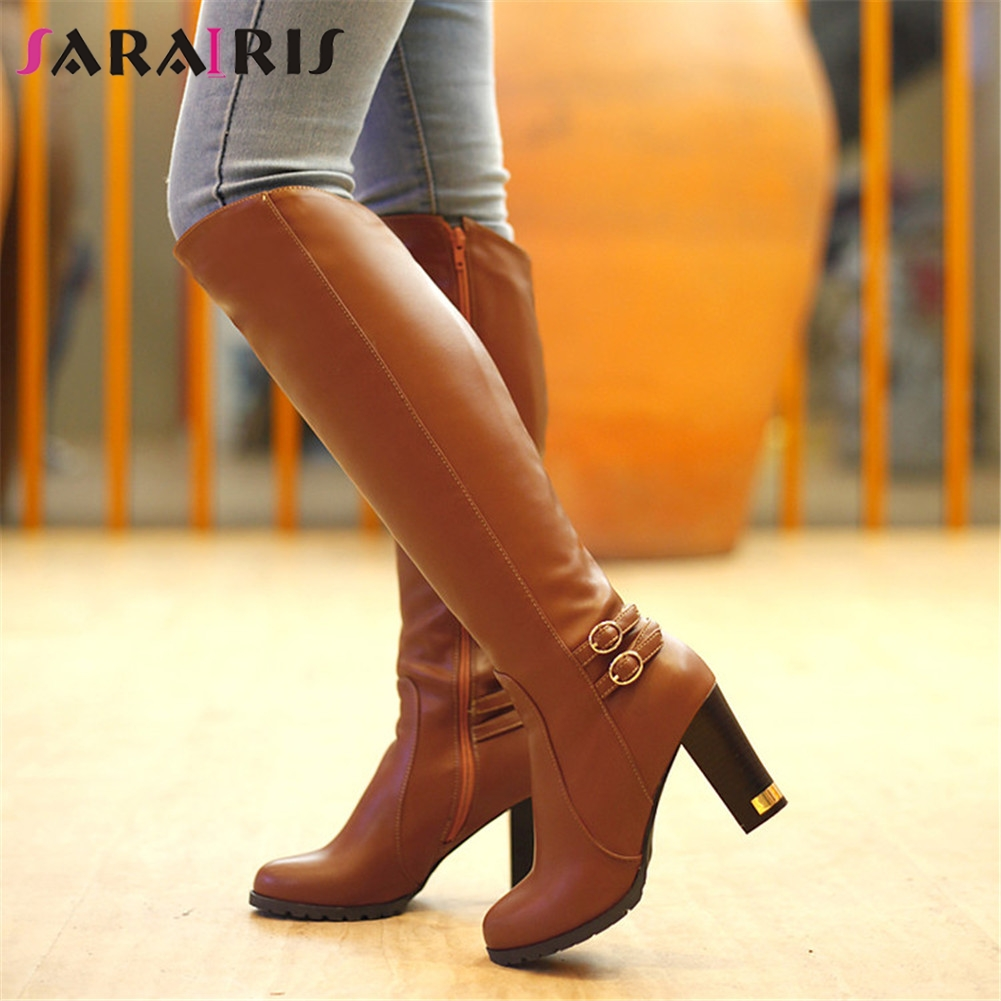 SARAIRIS 2019 Knee High Boots Women Winter Snow Fur Boots Fashion Zipper High Heel Knee Boots Black Brown Shoes Large Size 34-43