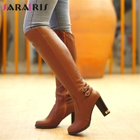 SARAIRIS Big Size 34 43 Warm Knee High Boots Women 2019 Winter Snow Fur Boots Ladies Black Brown Elegant High Heels Shoes Woman