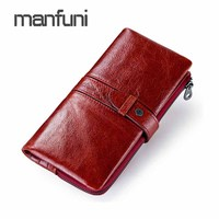 Genuine Leather Bifold Long Wallets Zipper Hasp Big Wallet Women Money Bag Coin Purses Fashion Card Holder Female Wallet Purse