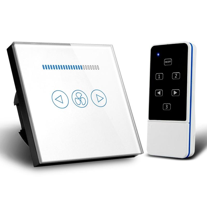 EU Standard RF433 Wireless Remote Control Touch Fan Speed Switch 500W, Ceiling Fan Control Wall Switch, Crystal Glass Panel