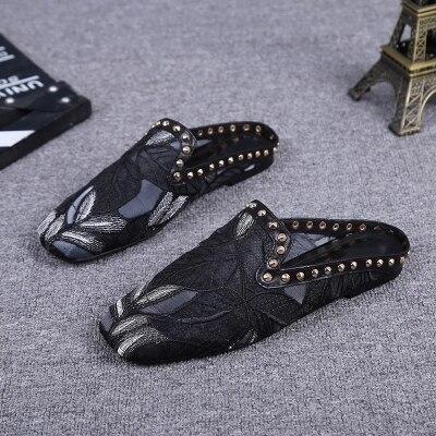 Sandales Moitié De Noir Femme Pour Femmes Carrée Tête D'été Glisser Chaussures Uzgq0w