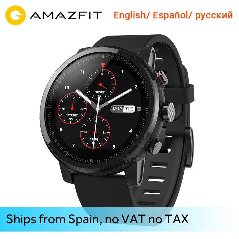 Englisch/Russisch/Spanisch Xiaomi Huami Smart Uhr Amazfit Stratos 2 Bluetooth GPS Herz Montior 11 Arten Sport Modus wasserdicht