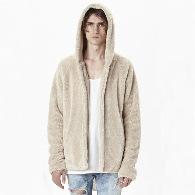 e1275dd0 PUNKOOL Sherpa Hoodie Kanye West Men Hip Hop Fleece Sherpa Hoodies Men US  Street Style Hooded