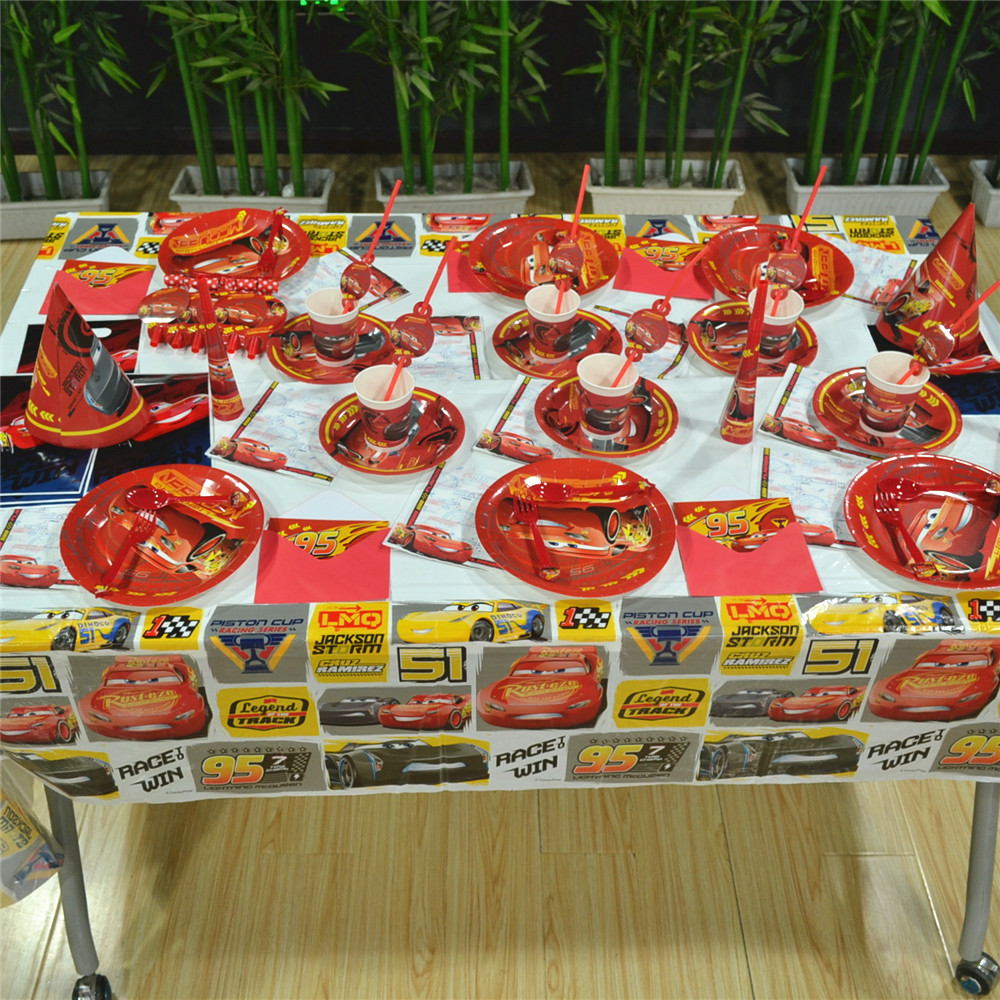 78pc/set Disney Cars Lighting McQueen Kids Birthday Party Decoration Supplies Disposable Tableware Tablecloth Cups Plates Baby