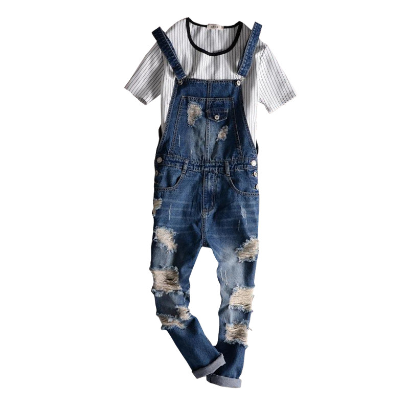 2017 Spring Autumn Fashion Brand Mens Slim Jeane Overalls Casual Bib Jeans For Men Male Ripped Denim Jumpsuit