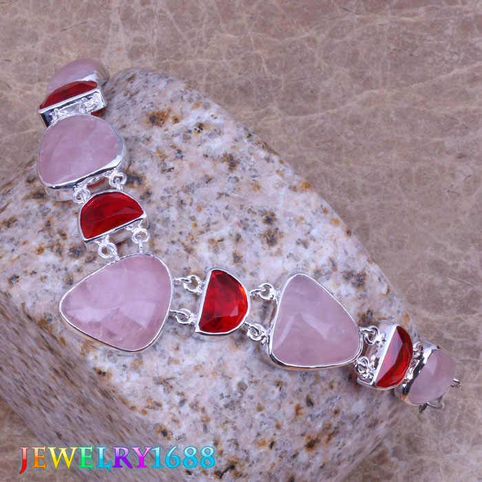 Majestic Pink Natural Stone Red  Garnet 925 Sterling Silver   Grade  Necklace L698
