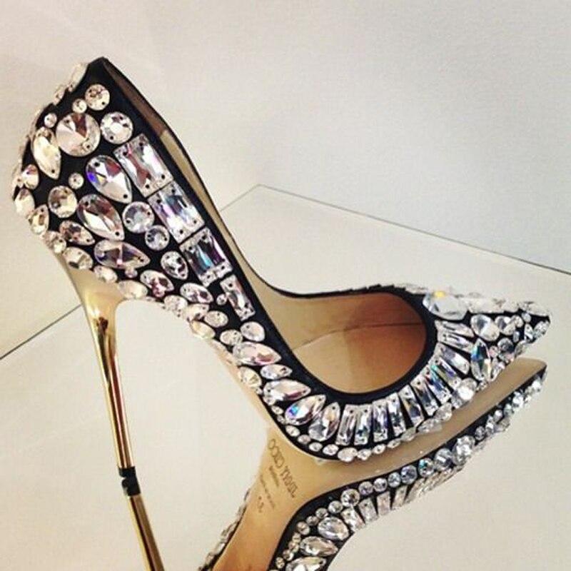 Shown Mode Orteil Mariage Nuptiale Femmes Cristal Incrusté As Pointu Tia Shown Riche Talons Pompes as De Chaussures Celebrity Stiletto Perles Jeweled tzwqRw