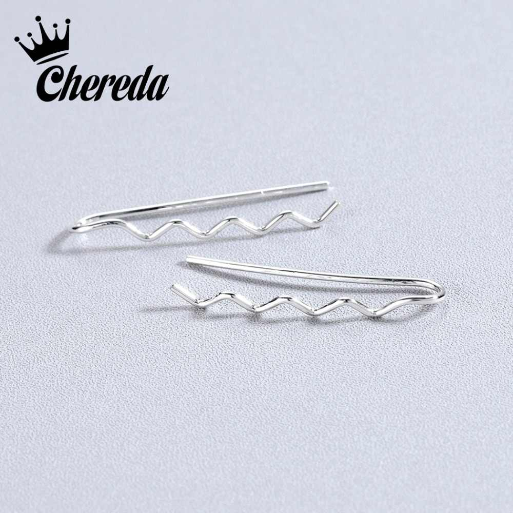 Chereda Gold Climber Classic Stud Earring Unique Gold  Statement Earrings Wedding Jewelry Christmas Gift