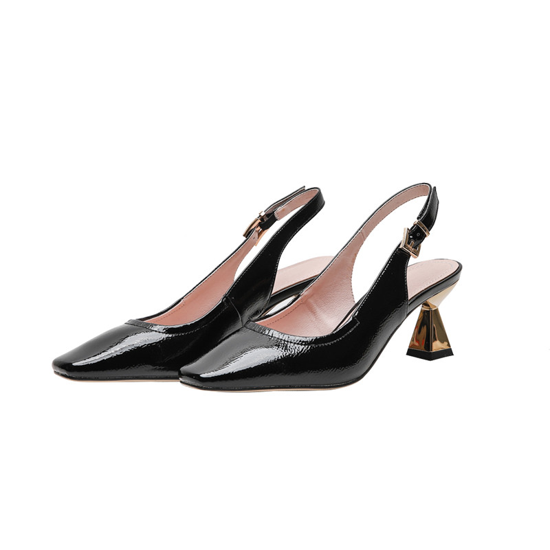 Femmes Chaussures noir Beige 2019 D'été Hauts De Boucle Carré Bout Femelle Talons Bal Memunia Nouveauté Parti Pour Femme Slingback Pompes wfgxnSAq