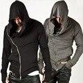 Assassin Creed Толстовки Кофты Мужчины Черный Плащ Мужчины С Длинным Рукавом Шаль Пиджаки Уличная Стиль С Капюшоном Мужской Пальто Молния Куртки