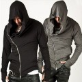 Assassin Creed Hoodies Sweatshirts Men Black Cloak Men Long Sleeve Shawl Outwear Streetwear Style Hooded Male Zipper Coat Jacket