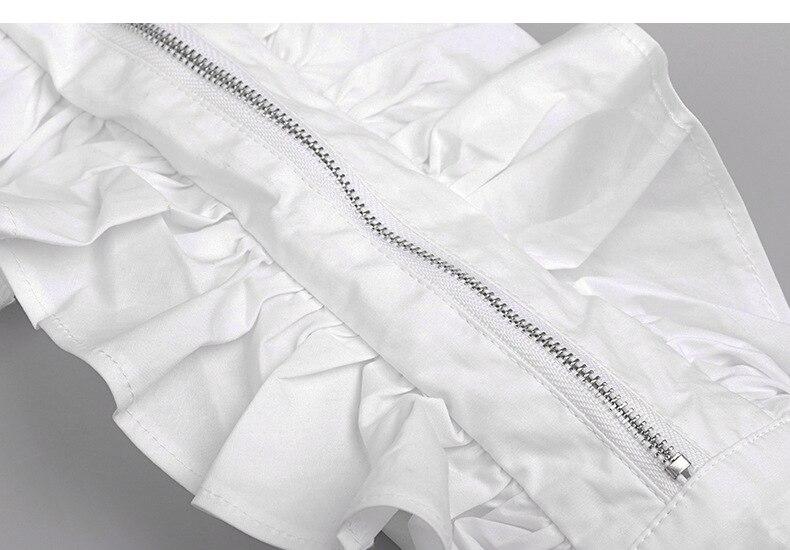 Abrigos Nuevas Blanco De Patchwork Vuelta Camisas Runway B316 Plumas Cremallera Collar Mujeres Alta Blusas Calidad Manga Diseñador Moda Volantes Larga qY16Y