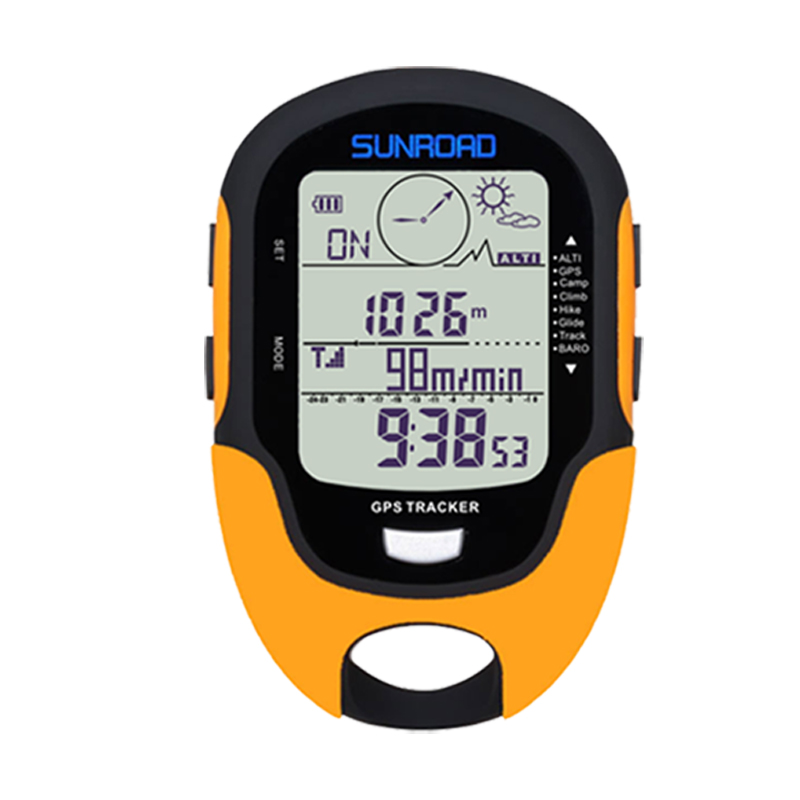 SUNROAD GPS Tracker Locator Finder Navigation Compass Handheld USB Rechargeable Digital Altimeter Barometer GPS Reloj Watches
