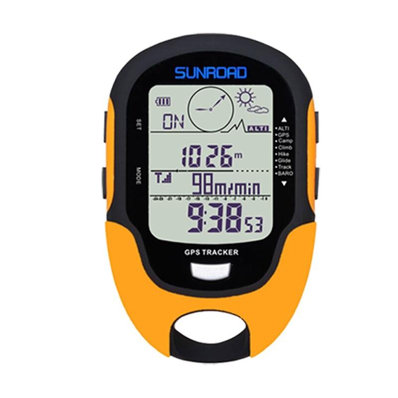 SUNROAD GPS Tracker Locator Localizador Handheld Recarregável USB Digital Altímetro Barômetro Bússola de Navegação GPS Reloj Relógios