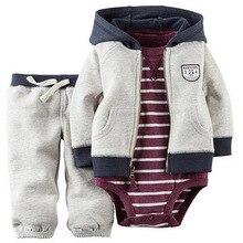 ילדי תינוק bebes ילד בגדים להגדיר מעיל ברדס + rompers + מכנסיים תינוקות ילד ילדה בגדי סתיו אביב ילדי חליפות יילוד סט
