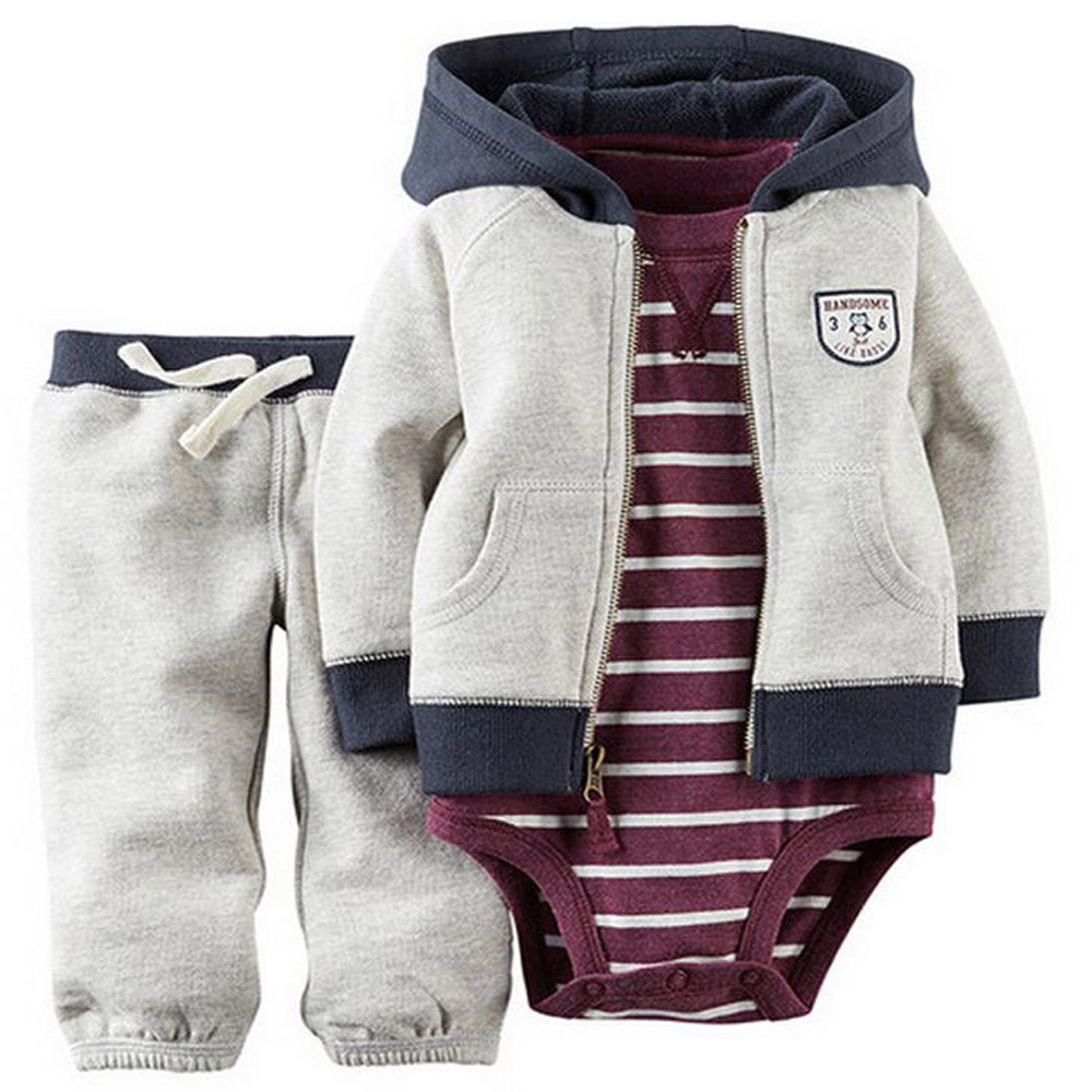 kids baby bebes boy clothes set hooded jacket+rompers+pants infant boy girl clothing Autumn Spring children suits newborn set цена