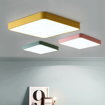 Ultra thin square 5cm colored ceiling lights High brightness ceiling lamp fixtures for Children's room lighting Kitchen Study Ceiling Lights