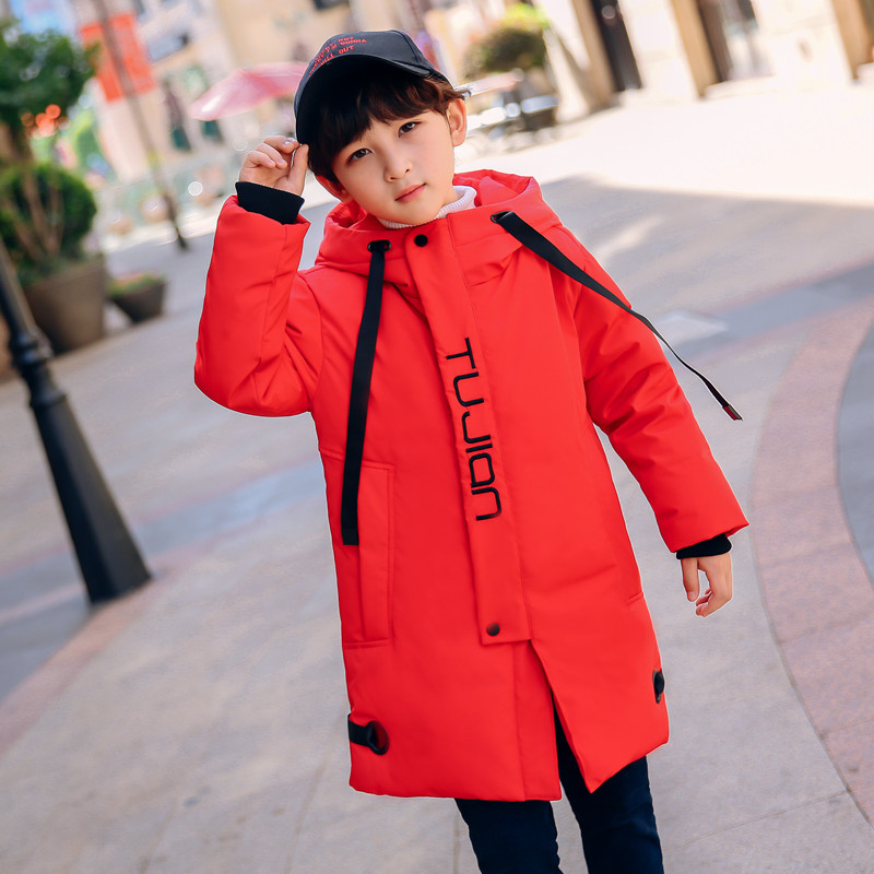 цена на New 2018 Fashion Children Winter Teenage Down Jacket Boys Winter Coat Kids Warm Thick Hooded Collar Long down Coats