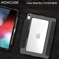 Original WOWCASE PU Leather Smart Case for iPad Pro 11/12.9 2018 Case Pencil Holder Chagring Cover for iPad 11 Casing Gift Film