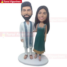 Indian Traditional Outfit Personalized Wedding Cake Topper Bobble Head Clay Figurine C