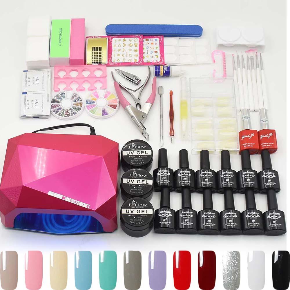 JEWHITENY 12 color UV Gel Polish Nail Art Tools Sets Kits 36W UV LED Lamp Manicure Sets UV Extension Gel Varnish Nail Gel Kit