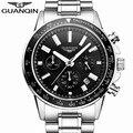 Мужские часы GUANQIN  модные  деловые  спортивные  водонепроницаемые  кварцевые  из нержавеющей стали