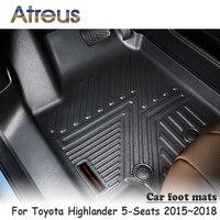 Atreus NEW 1Set TPE Car Floor Foot Mat For Toyota Highlander 5 Seats 2015 2016 2017 2018 Waterproof Carpet Accessories