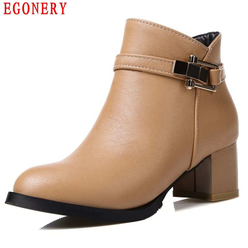 EGONERY Spring Autumn Round Toe Faux Leather Zip Square Heel Women Ankle Fashion Boots Shoes Woman