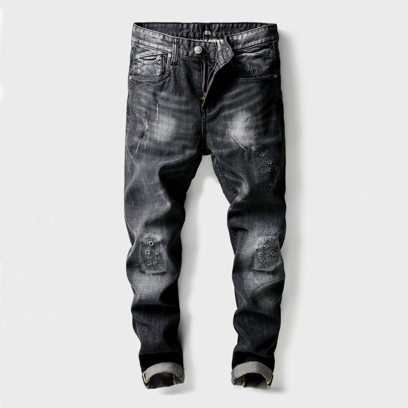 2018 Fashion Men's Jeans High Quality Slim Fit Ripped Jeans Hip Hop Pants Black Color Cotton Brand Classical Jeans Men Trousers high quality mens jeans ripped colorful printed demin pants slim fit straight casual classic hip hop trousers ripped streetwear