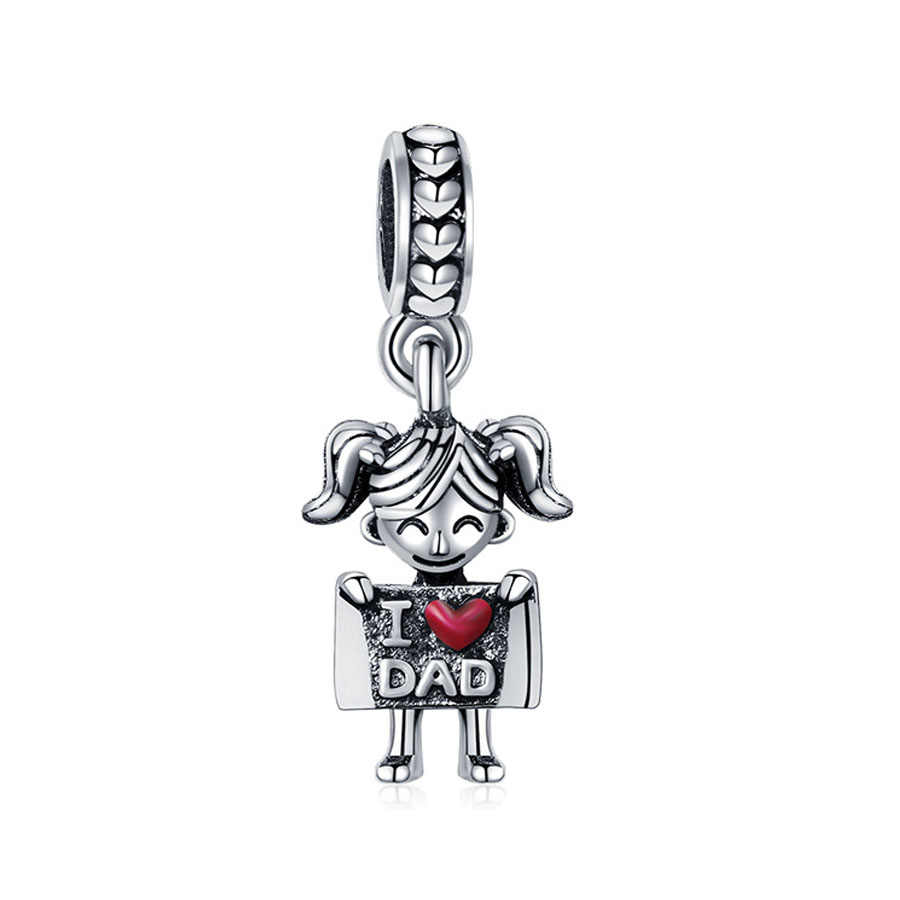 1pc free shipping  buddy bone paw i love mom i love dad hug me diy bead Fit Pandora Charm Bracelet for women jewelry EL172