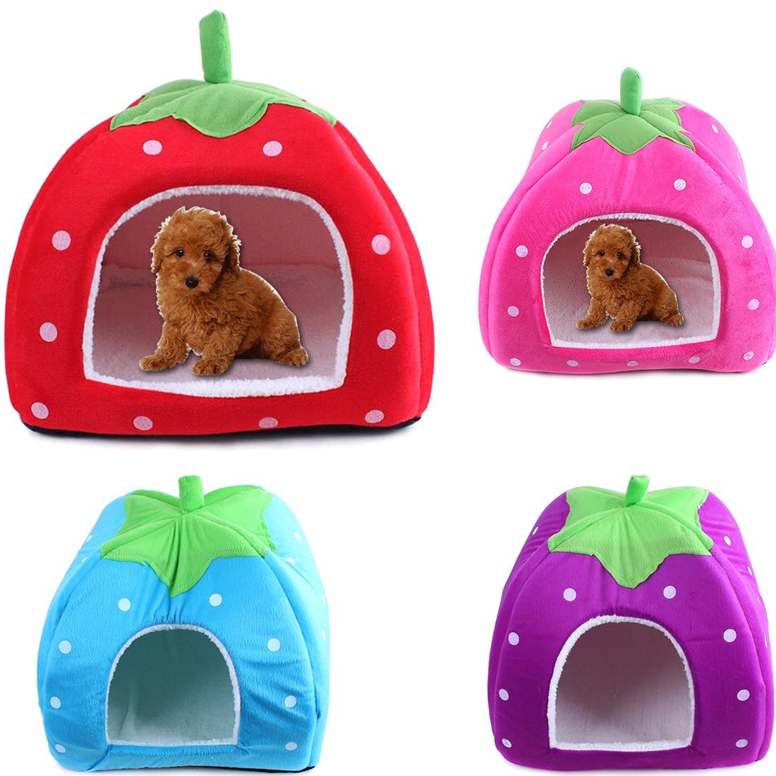 Atacado Casa de Cachorro Macio Forma de Morango Adorável Canil Quente cama de Gato Ninho de Veludo Portátil Para Pequenas e Médias Animais de Estimação cama perro