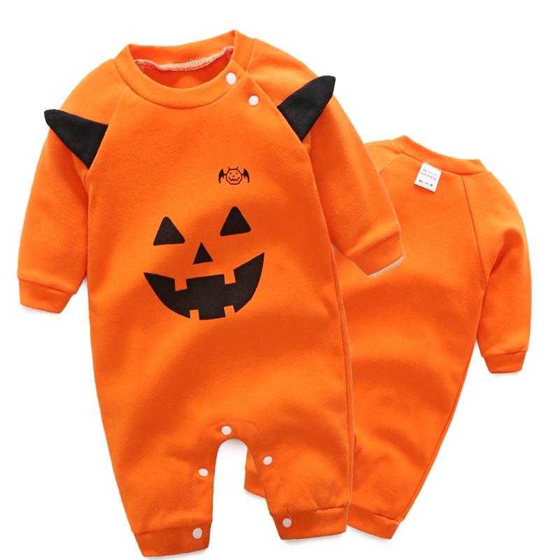 948e4584b009 Halloween style baby girls boys orange horror pumpkin long sleeve rompers  fashion kids cotton overalls infant jumpers 17A801