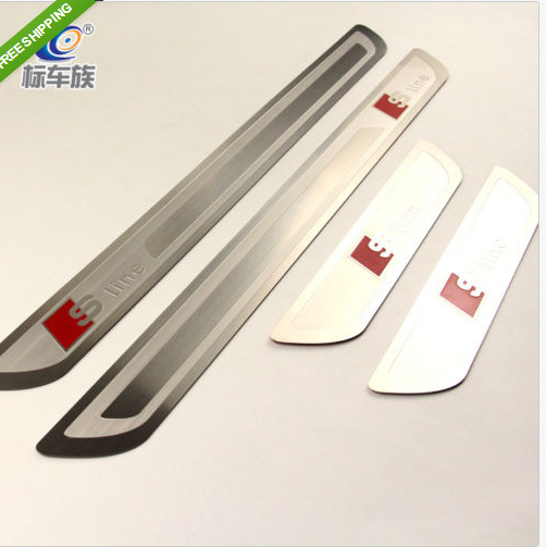 Door sill scuff plate Guards Sills For audi A3 A4 A5 A6 A7 A8 Q5 Q7 2009-2013 sports car door sill scuff plate guard sills for 2014 mazda 6 atenza m6