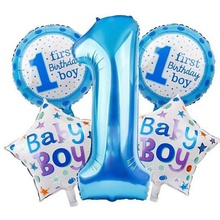 5 Pcs Baby 1st Balloons Set Pink Blue Number Foil Air Balls Boy Girl Toys Decorations For Kids Supplies(China)