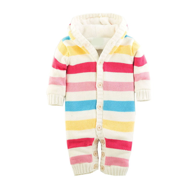 Winter Autumn Thick Warm Infant Rompers Hooded 100% Cotton Kids Children Jumpsuits Comfortable Clothes 4 Colors Available warm thicken baby rompers long sleeve organic cotton autumn