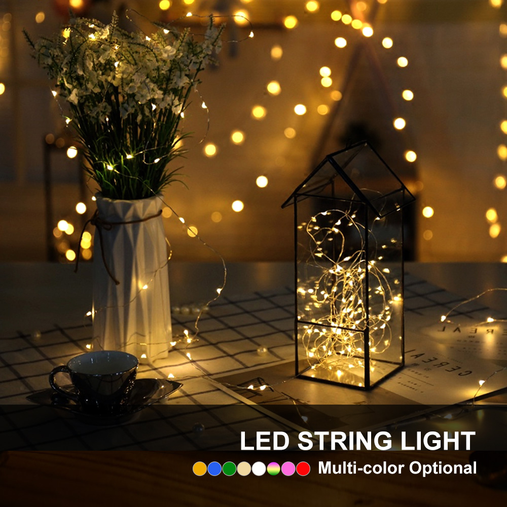 10M 5M 2M LED String Light Silver Wire Battery Power For Holiday Fairy Christmas Halloween Wedding Party Decoration