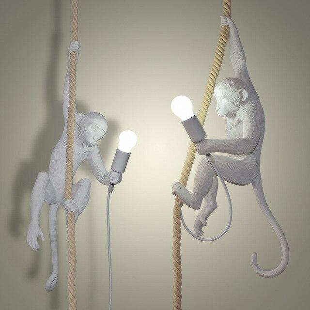 Modern Resin Monkey Loft Vintage Hemp Rope Chandelier for Home Lighting Bar Cafe Retro Hanging Monkey lamp