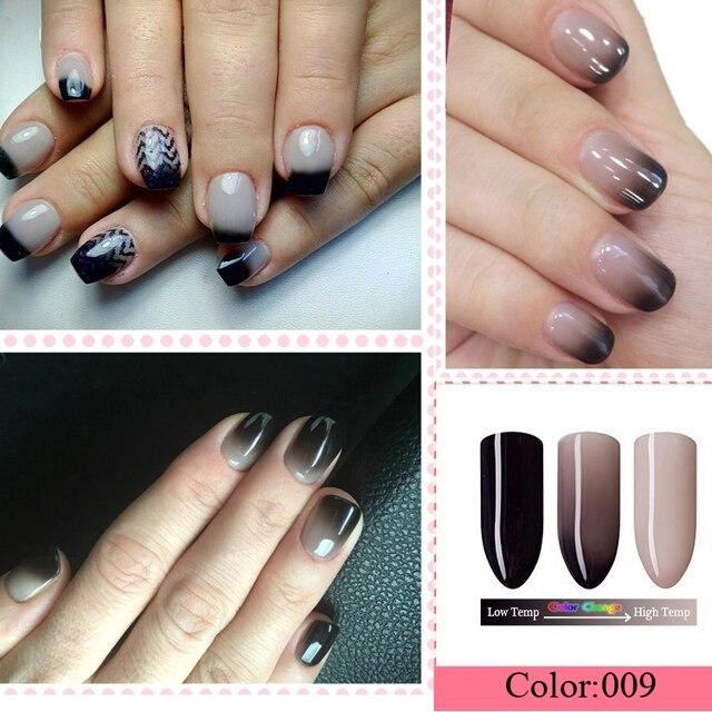 Black Temperature Change Color Nails Polish 7ml Uv Nail Gel Polish