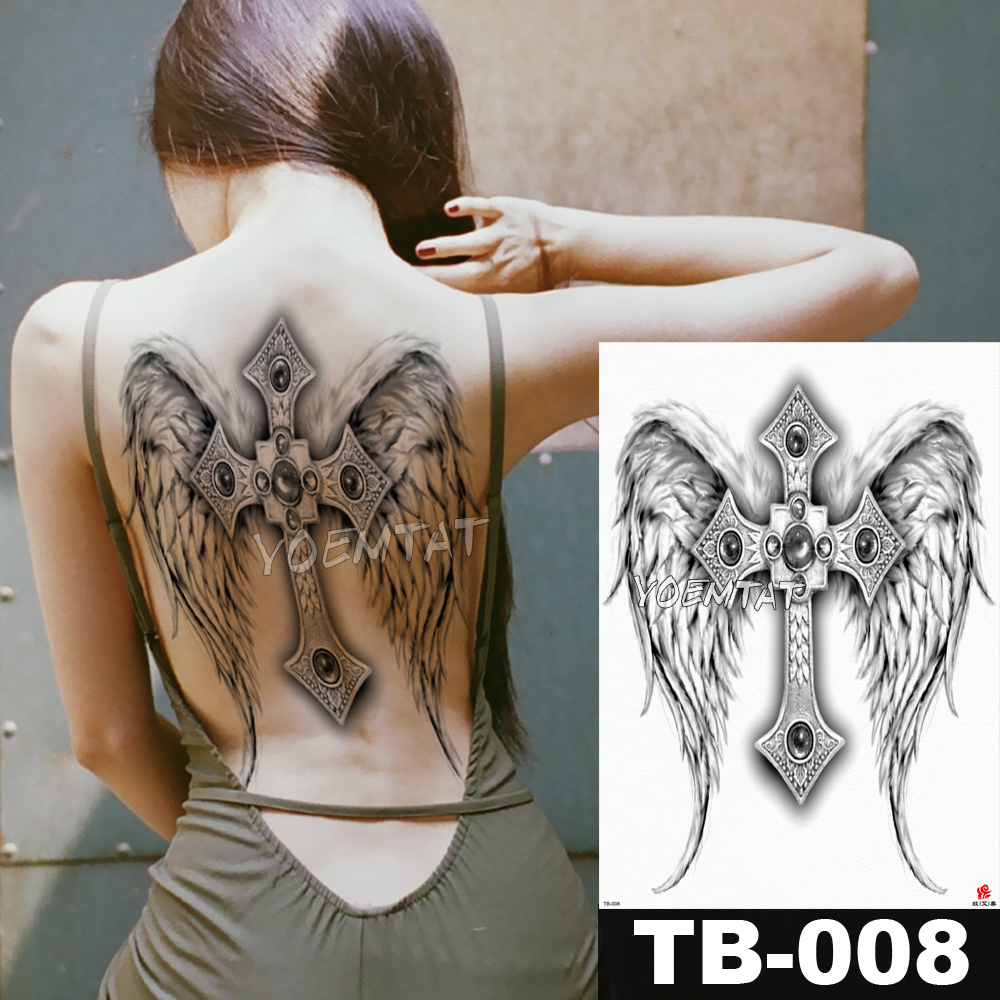 48*35 Cm Angel Cross Wings Large Tattoo Stickers Waterproof Temporary Flash Tattoos Full Back Ornate Jewelry Body Art