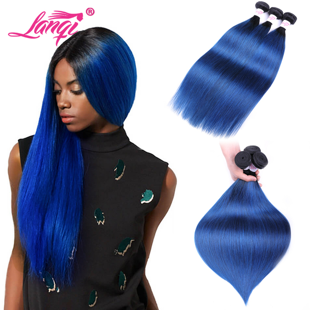 Brazilian Straight Hair 2 Tone 1b Blue Dark Roots Ombre Human Hair
