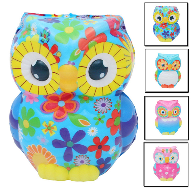 New Cute Colorful Owl Squishy Simulation Animal Slow Rising Bread Cake Squeeze Toy Scented Stress Relief For Kid Birthday