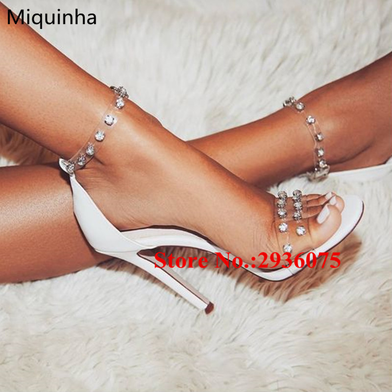 Clear Transparent PVC Crystal Embellished Perspex High Heels Sexy White Women Sandals Stiletto High Heels Sandalias Shoes Woman hot sale pvc transparent sandals for women ankle strap crystal clear chunky heels sandalias mujer women shoes plus big size