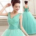 Moda Verde Menta Cor Apliques Baratos Vestidos Quinceanera 2016 Para 15 Ano Vestidos de Baile Organza vestidos de quinceanera