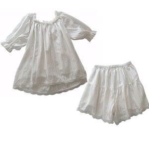 Image 4 - Śliczne damskie zestawy piżam Lolita bawełniane bluzki z falbanką + spodenki. Zestaw piżam koronkowych damskich dziewczęcych. Wiktoriańska bielizna nocna Loungewear